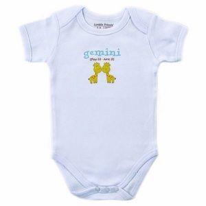 Zodiac Baby Bodysuit Gemini BY LUVABLE FRIENDS